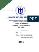 COMUNICACIÓN I-Monografía Origen y Evolución Del Español (Carlos Reátegui - Clever Durden) (1)