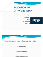 Application of Solar Pv's in India