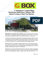 BIG BOX, Singapore's Largest Mega Warehouse Retail Store, Obtains TOP; Slated to Open in Next Two Months
