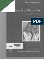 Filosofía y educación, manuscritos, María Zambrano