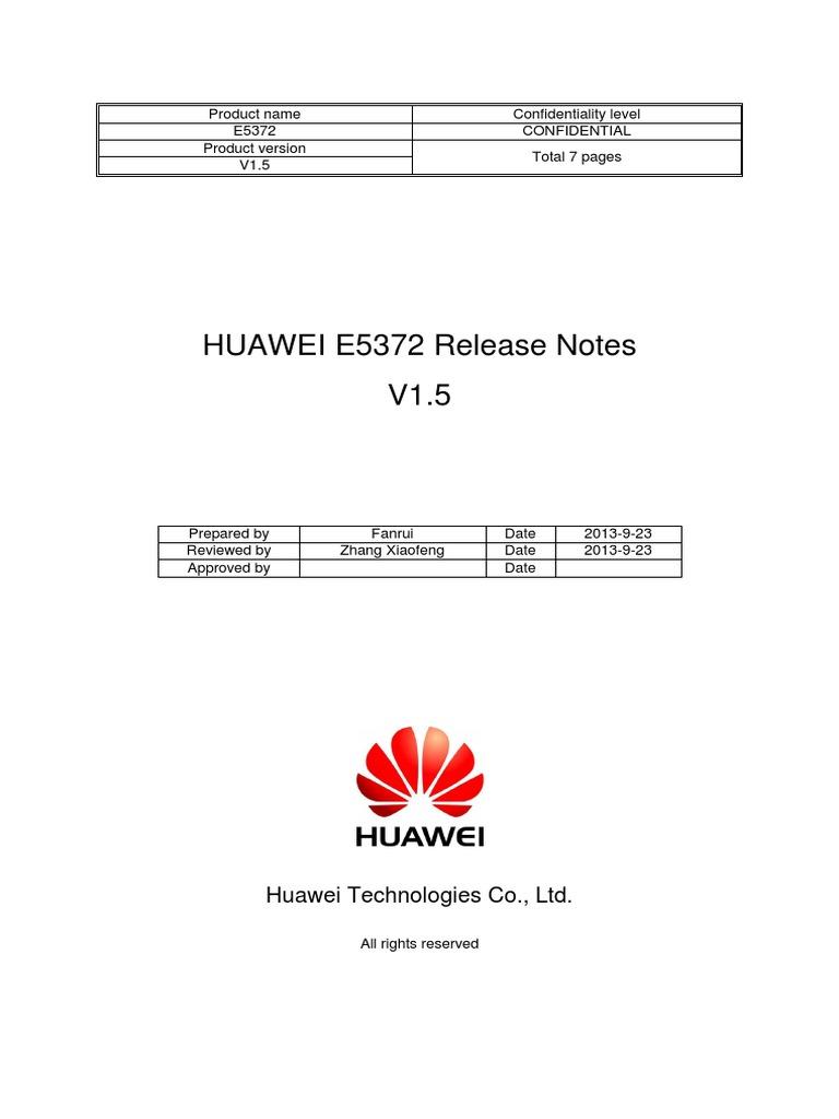 HUAWEI E5372 TCPU-V200R001B236D03SP00C00 Release Notes pdf
