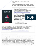 A Research Note on the Incremental Validity of Job Knowledge and Integrity Tests for Predicting Maximal Performance