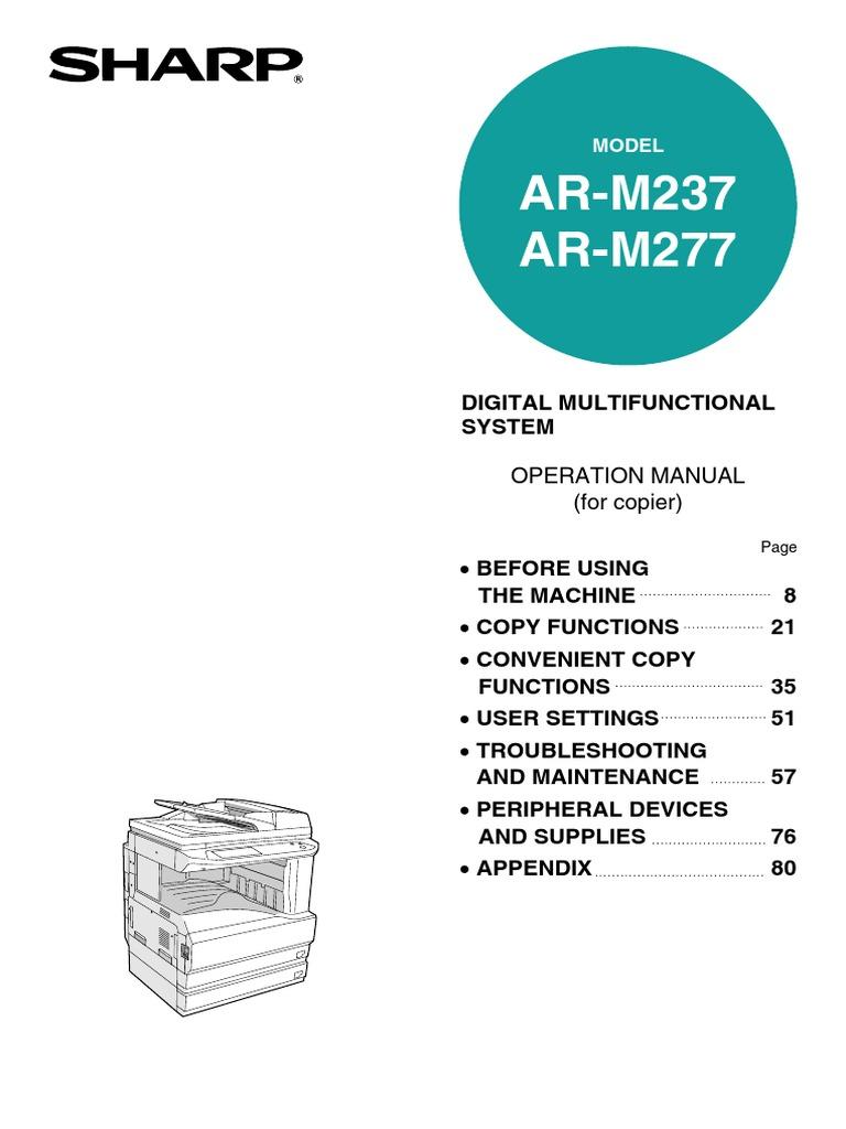 Sharp Ar M237 Ar M277 Operation Manual