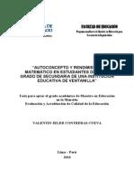 Autoconcepto y rendimiento matemático en estudiantes de 4° y 5° grado desecundaria de una institución educativa de Ventanilla