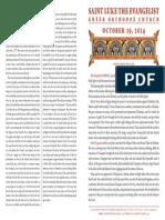 October 19, 2014 Sunday Bulletin