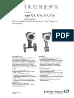 Wirbeldurchflussmesser Prowirl 72F, 72W, 73F, 73W