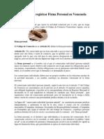 Requisitos Para Registrar Firma Personal en Venezuela