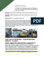 Fury Film Review - War Never Ends Quietly - FuTurXTV & HBMedia.com - Hiphobattle - 11-2-2014