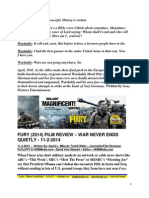 Fury Film Review - War Never Ends Quietly - FuTurXTV & HHBMedia.com - Hiphobattle.com - 11-2-2014