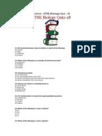CBSE Class 10 - Science - NTSE (Biology) Quiz - 18