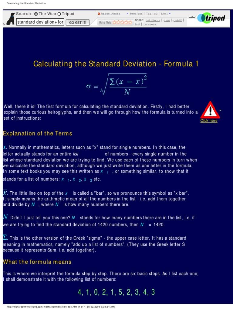 Calculating The Standard Deviation Variance Standard Deviation