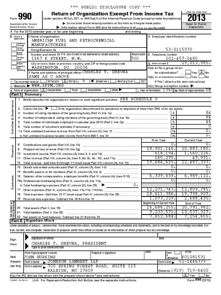 2013 Afpm | Irs Tax Forms | 501(C) Organization