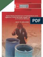 Norma Técnica de Salud para la Implementación de la Vigilancia y Control del Aedes Aegypti, Vector del Dengue en el Territorio Nacional