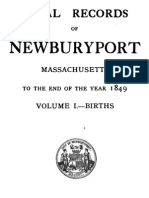 Vital Records of Newburyport Massachusetts to the End of the Year 1849 Births Vol 1