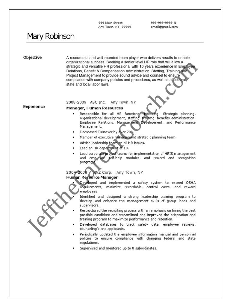 hr manager sample resume  3