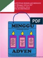 Bahan Kreativitas Sekolah Minggu 14 Desember 2014 PIA Kumetiran