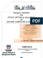 project on stock option and valuation of satyam computer & infosys