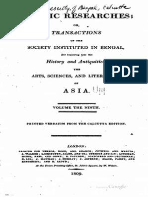 1807 Asiatic Researches Vol 9 s | Ângulo | Natureza