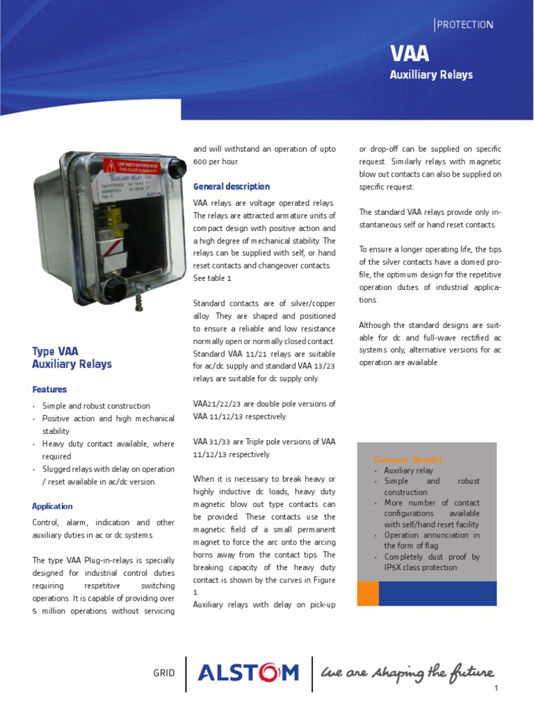 Alstom SCS VAA Aux Relay Relay Switch - Alstom electromagnetic relay catalogue