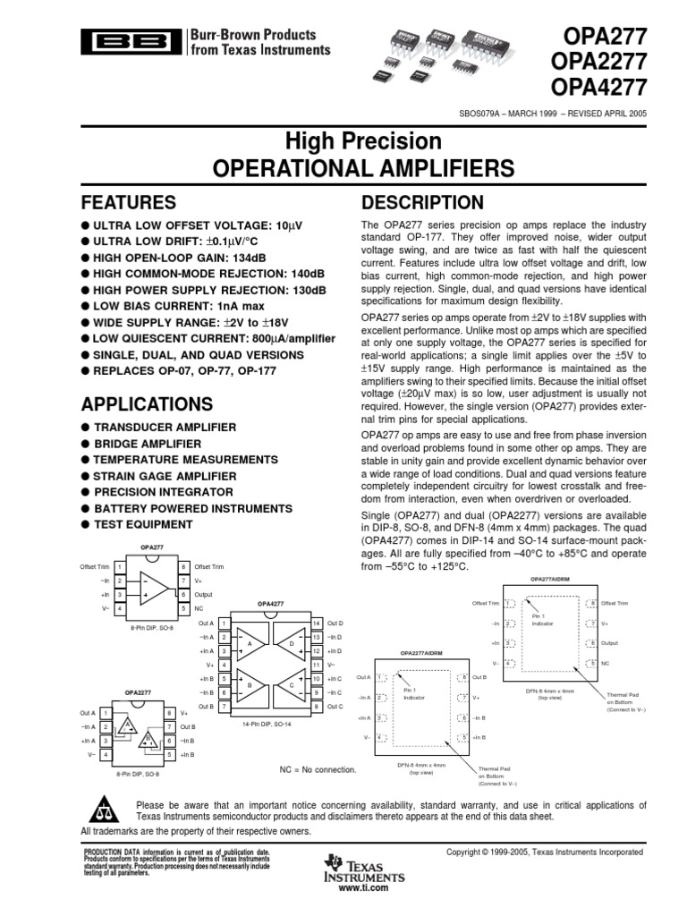Opa4277pdf Operational Amplifier 20v Ultra Precision Op Amps