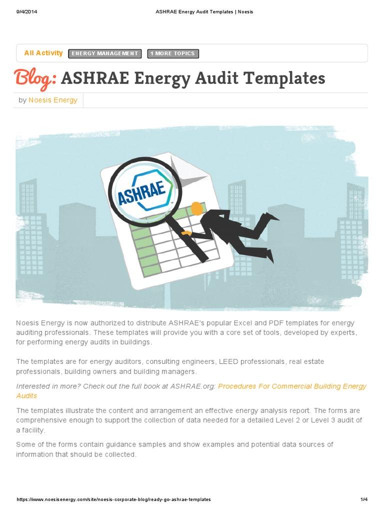 Ashrae Energy Audit Templates Noesis Pdf Audit Technology Engineering