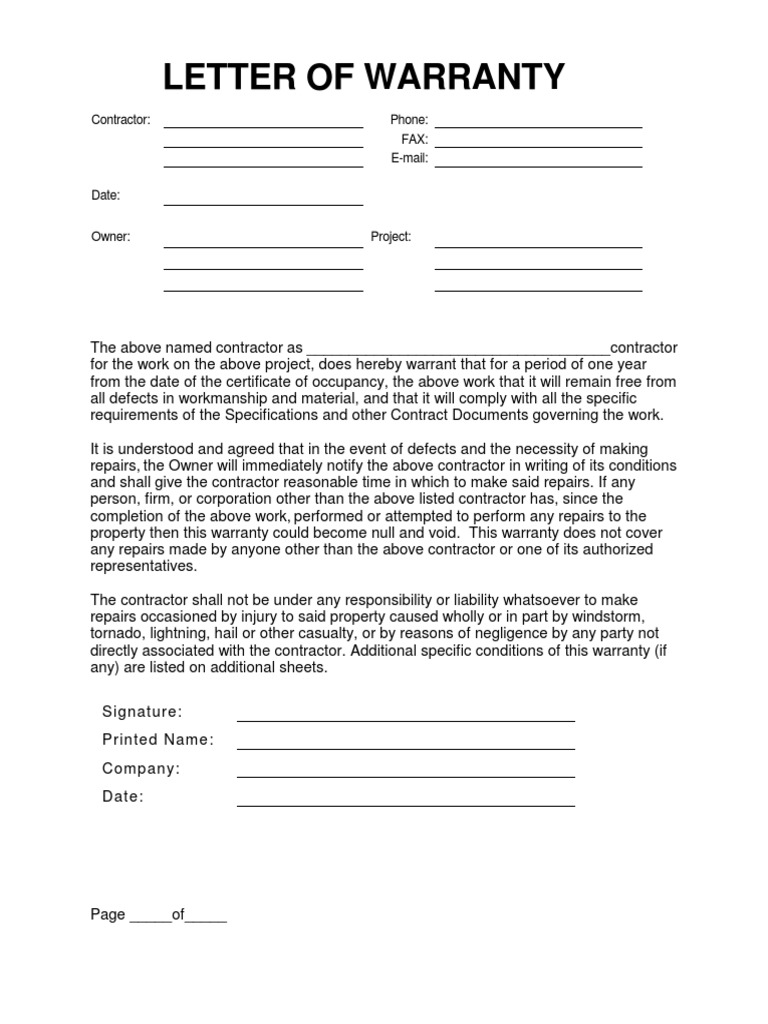 Subcontractor Warranty Letter Template