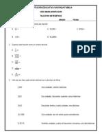 Taller de Matemáticas 4º (Generalidades Con Números Decimales - 4to Periodo)