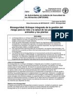 Bioseguridad. Enfoque Integrado de La Gestión Del Riesgo Para La Vida y La Salud de Las Personas, Los Animales y Las Plantas (OMS - FAO)