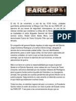 Comunicado FARC Confirma Secuestro del General Alzate