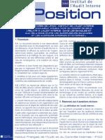 Prise de Position Comité de Bâle Relatif à l Audit Interne Dans Les Banques Déc.01