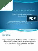 Serving Homeless Families Through Coordinated Assessment