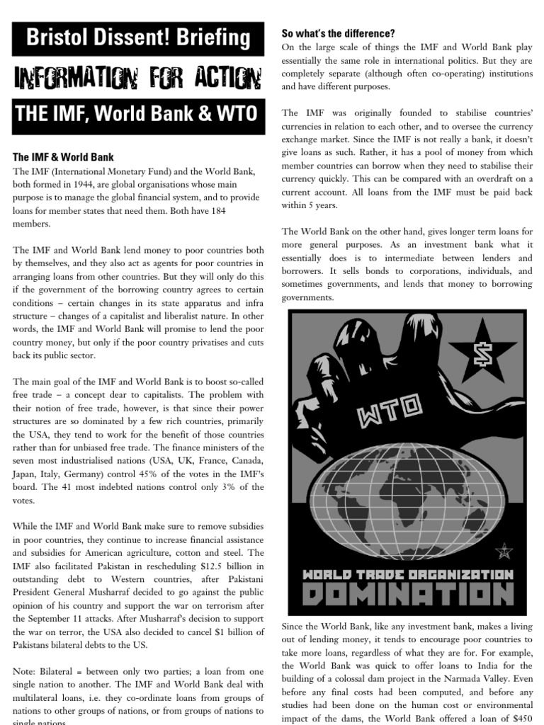 the wto imf and world bank essay Imf & developing countries - an argumentative fund (imf) and world bank are the two dominant to imf & developing countries - an argumentative essay.