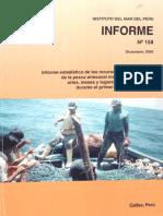Informe Estadístico de los Recursos Hidrobiológicos de La Pesca Artesanal Marina Por Especies, Artes, Meses y Lugares de Desembarque Durante El Primer Semestre Del 2000