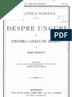 Radu Rosetti - 1905 - Despre unguri şi episcopiile catolice din Moldova