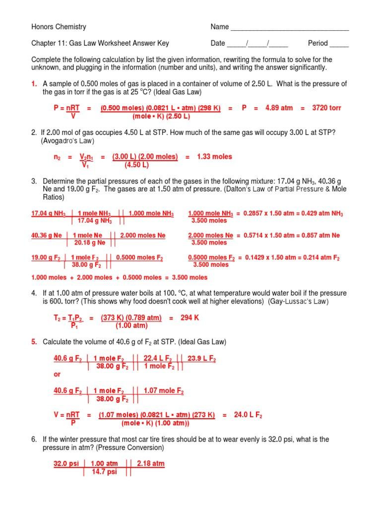Gas Laws Worksheet III Answer Key 11-12 | Gases | Mole (Unit)
