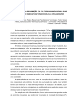 AS TECNOLOGIAS DA INFORMAÇÃO E A CULTURA ORGANIZACIONAL - MORAES, Cássia Regina Bassan de, FADEL, Bárbara
