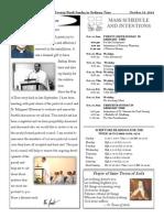 Santa Sophia Bulletin for October 19, 2014