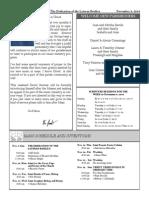 Santa Sophia Bulletin for Nov 9, 2014