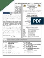 Santa Sophia Bulletin for Nov 16, 2014