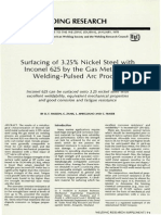 Surfacing of 3.25% Nickel steel with Inconel 625 by the gas metal arc welding-pulsed arc process