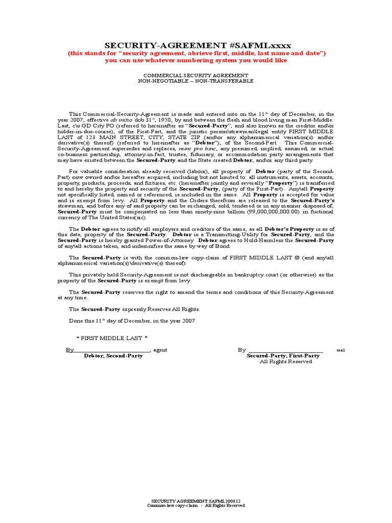 Legal security agreement simple bankruptcy business law platinumwayz