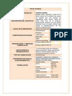 Ficha Técnica Del Producto. Diagrama de Flujo