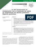 Eficacia clínica del formocresol en comparación con el hidróxido de calcio en pulpotomías de dientes primarios