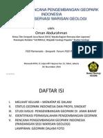 Status dan Rencana Pengembangan Geopark Indonesia Segi Konservasi Warisan Geologi