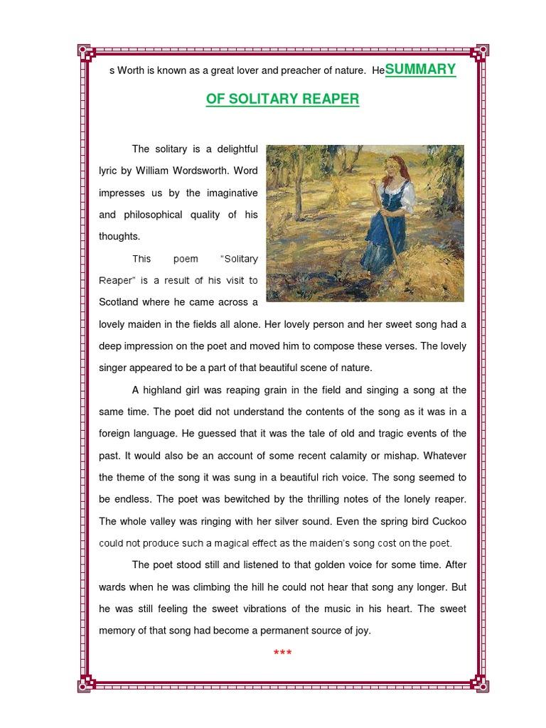Summary of Solitary Reaper | William Wordsworth | William