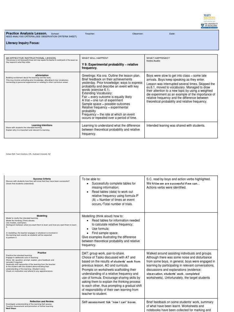 worksheet Relative Frequency Worksheet y 9 lesson 3 relative frequency probability experiment