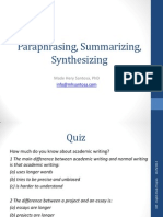 Paraphrasing, Summarizing, Synthesizing Hery EAP 27092014