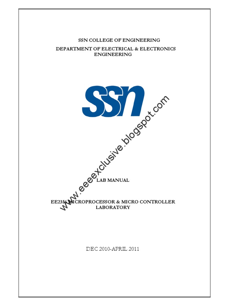 Microprocessor and Microcontroller Labmanual | Division (Mathematics) |  Digital Electronics