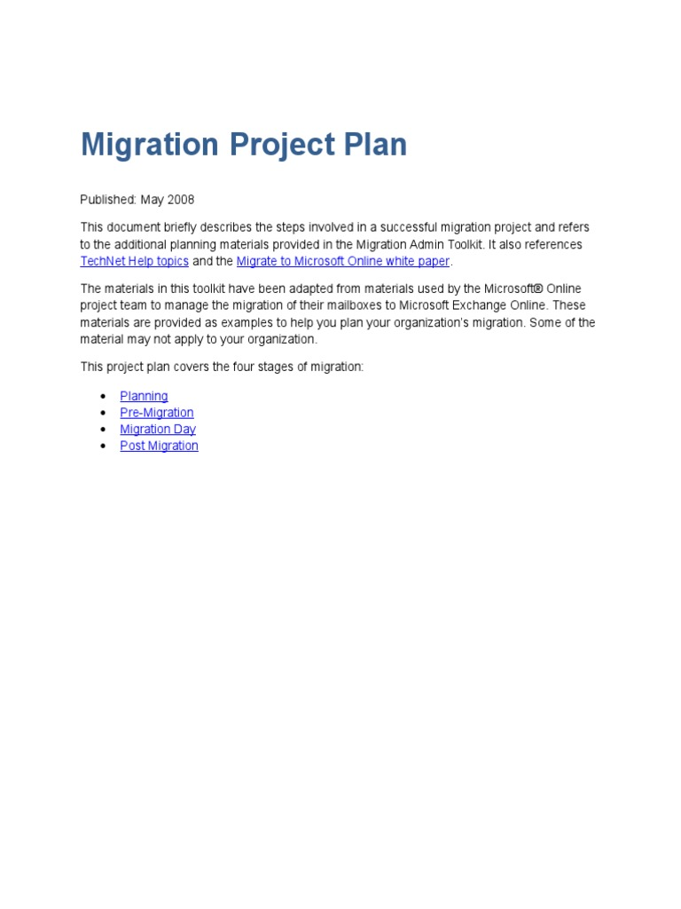 Migration Project Plan | Active Directory | Microsoft Exchange Server