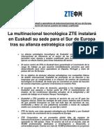 Comunicado de Prensa Alianza Euskaltel-ZTE